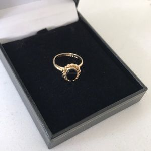 Jewelry - 10K Vintage Gold Filled GF Onyx Ring Adjustable